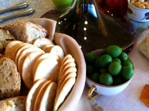 Crackers and olives