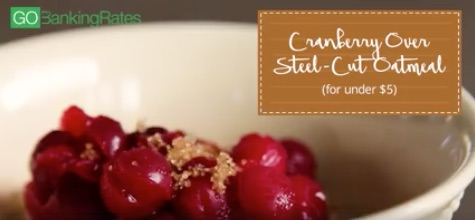 Oatmeal with leftover cranberry sauce